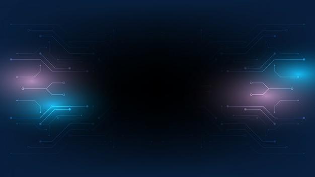 抽象的な技術の背景、イラスト、ハイテクコミュニケーションコンセプトイノベーション背景、科学と技術のデジタル青い背景