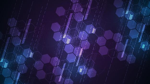 보라색 배경에 대각선 스타일의 주요 요소로 육각형이 있는 디지털 개념의 추상 기술 배경.