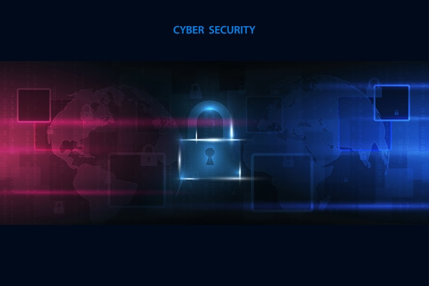 Abstract technology background protect system innovation. security cyber digital concept.