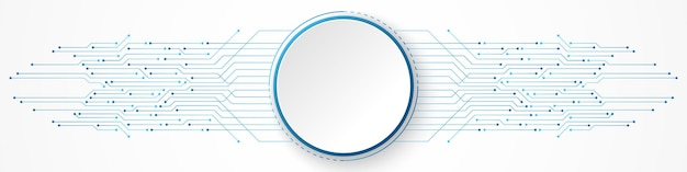 Abstract technology background, white circle banner on blue circuit board pattern