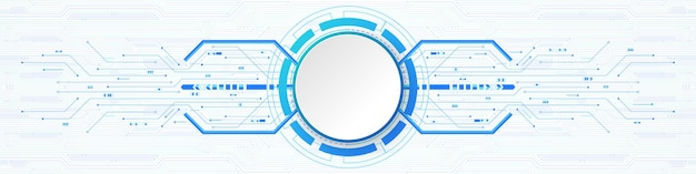 Abstract technology background, white circle banner on blue digital circle and circuit board
