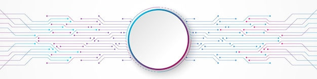 Abstract technology background, white circle banner on blue and pink gradient circuit board pattern