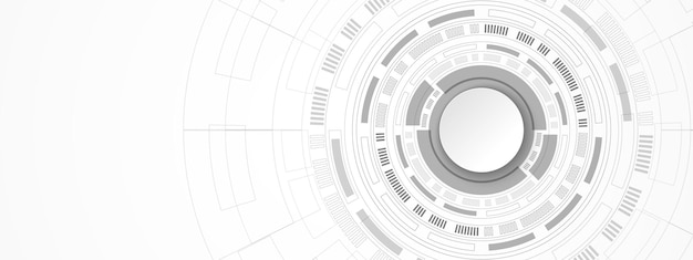Abstract technology background white circle banner on grey and digital circle and circuit board