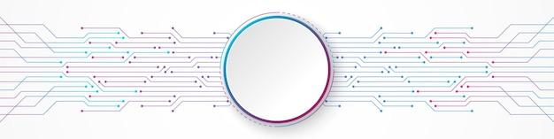 추상 기술 배경, 파란색과 분홍색 그라데이션 회로 기판 패턴에 흰색 원형 배너