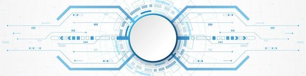추상 기술 배경, 파란색 디지털 원 및 회로 기판에 흰색 원 배너