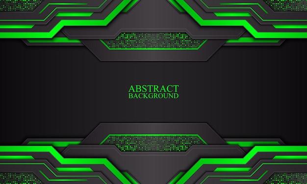 Абстрактный фон технологии с черными и зелеными неоновыми полосами векторные иллюстрации