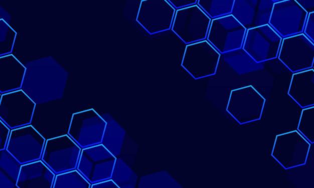 파란색 육각형으로 추상 기술 배경입니다. 벡터 일러스트 레이 션.