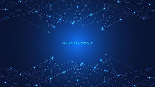점과 선을 연결하는 추상 기술 배경입니다. 글로벌 네트워크 연결 및 통신의 디지털 기술.