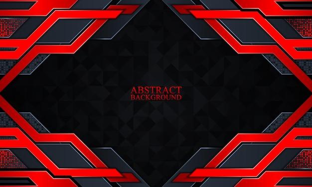 暗いネイビーと赤のグローストライプと抽象的な技術の背景ベクトル図