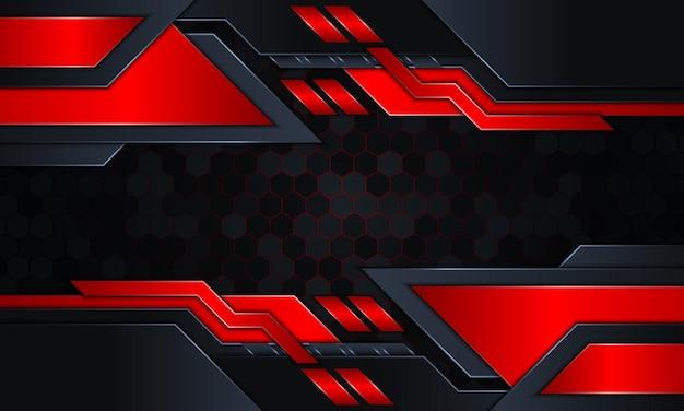 ダークネイビーと赤のグローストライプと抽象的な技術の背景。