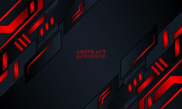 Abstract technology background with dark navy and red glow stripes vector illustration