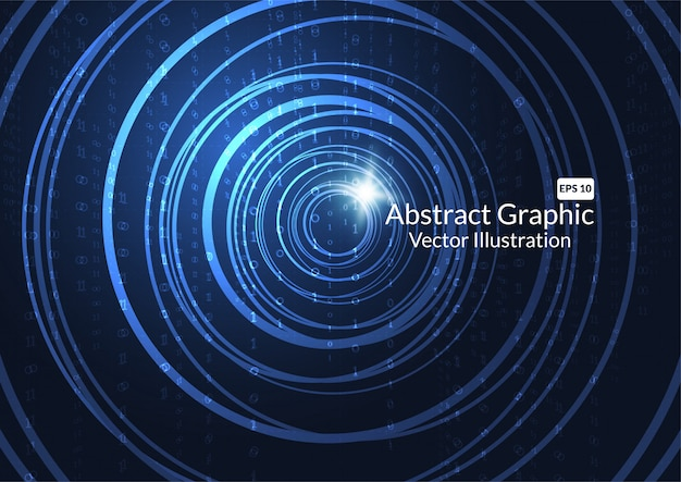Abstract technology background with glowing neon circles