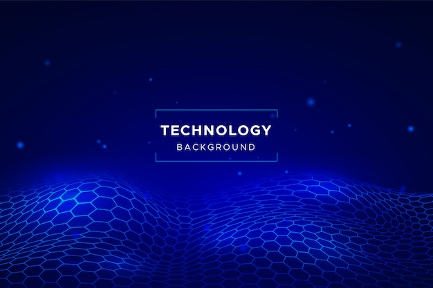 Abstract technology background with hexagonal grid