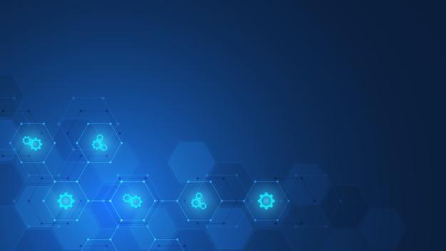 アイコンと記号の抽象的な技術の背景。革新技術、医療、科学、研究のコンセプトとアイデアを備えたテンプレート。図。