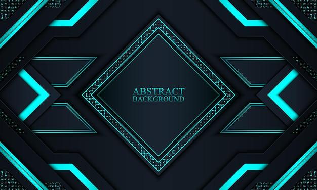 ネイビーとブルーのネオンストライプの抽象的な技術の背景ベクトル図