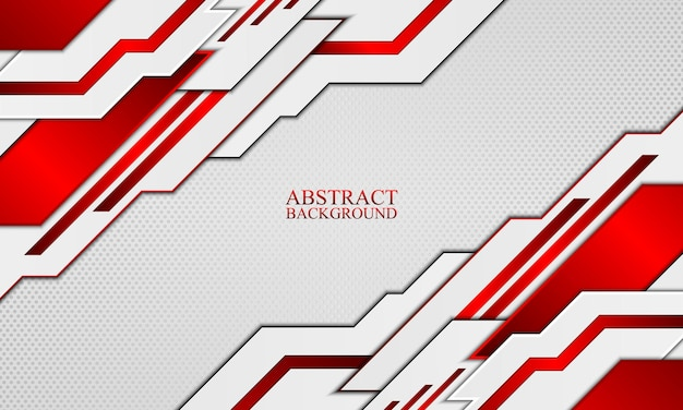 Abstract technology background with white and red neon stripes vector illustration