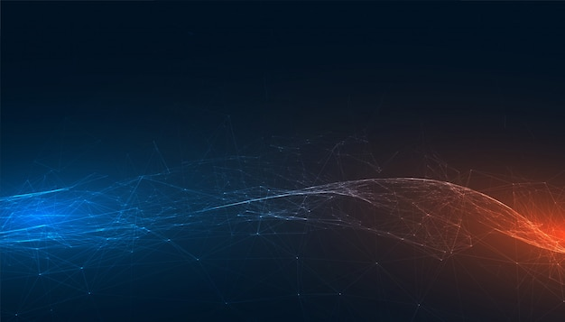 Abstract technology banner with blue and orange lights