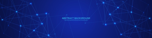 Абстрактный технологический баннер с соединительными точками и линиями. цифровые технологии подключения к глобальной сети и связи.