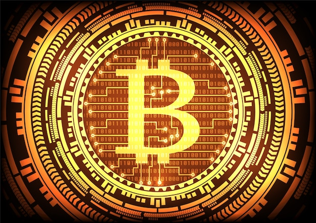Abstract technology bitcoins logo and gear gold background.