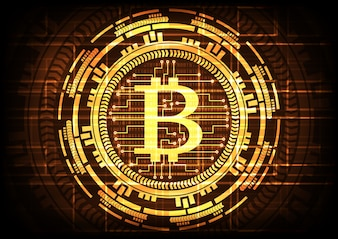 Abstract technology bitcoins on gold background.