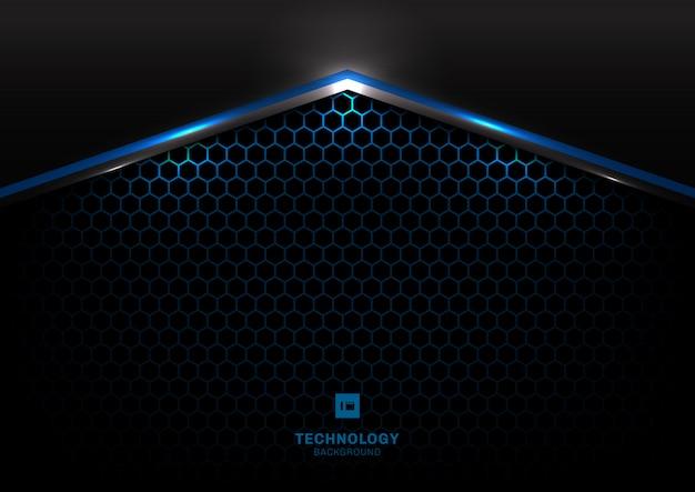 Абстрактная технология черный металлик синий свет современный фон