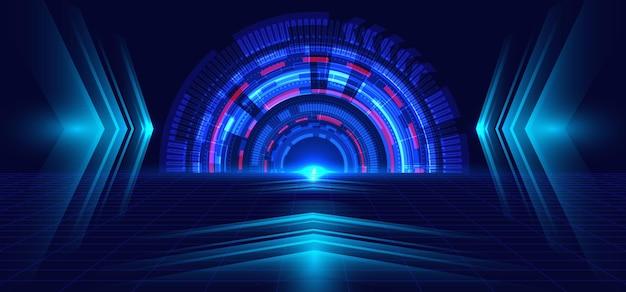 추상적 인 기술 파란색 원, 광선 및 화살표 진한 파란색.
