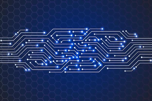 抽象技術青い回路基板パターン、六角形の背景