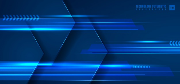 Abstract technology blue geometric hexagon background.