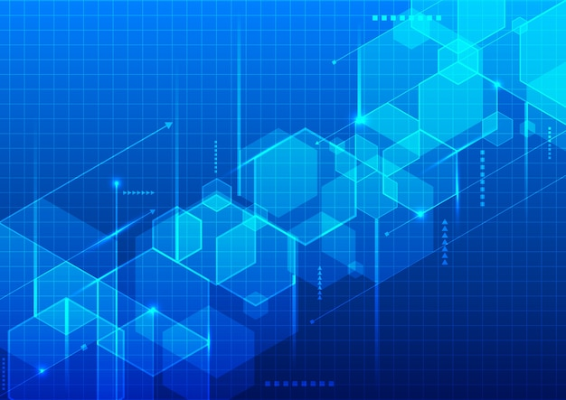 추상적 인 기술 블루 기하학적 육각형