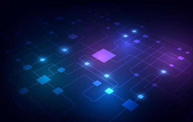 抽象技術チッププロセッサ背景回路基板とhtmlコード、3dイラスト青い技術背景ベクトル。