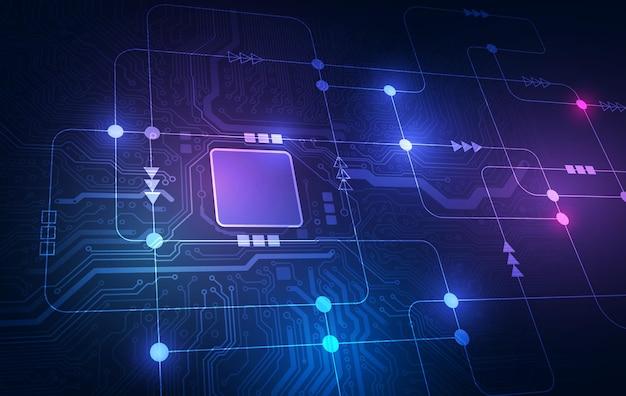 추상 기술 칩 프로세서 배경 회로 기판 및 html 코드, 3d 그림 파란색 기술 배경 벡터.