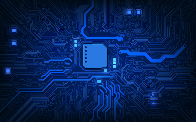 Abstract technology chip processor background circuit board and html code background