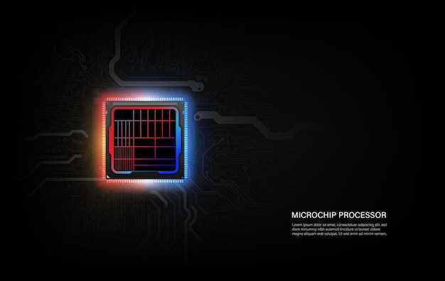 Abstract technology chip processor background circuit board and html code, illustration blue technology background vector.