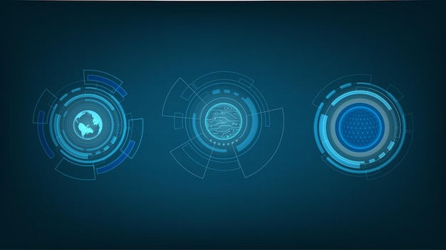 Abstract technology  circles, digital hi-tech technology design