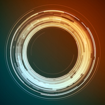 Abstract technology circles lines with light digital background.