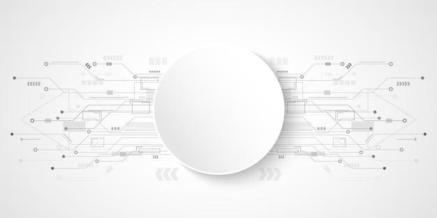 白い円のバナーと抽象的な技術回路基板の背景
