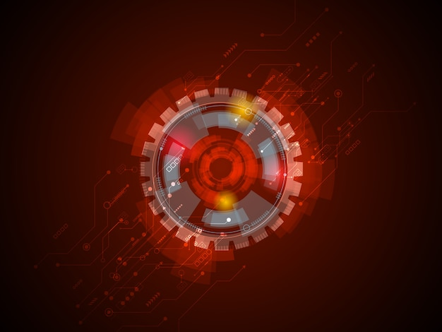 赤い背景の抽象的な技術回路