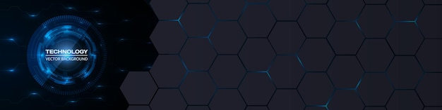 Abstract technology concept background with circuit board and hexagon grid