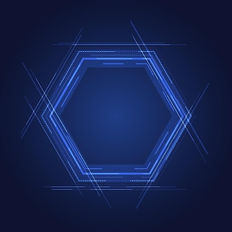 Abstract technology concept blue hexagon elements with lines on glow blue background. vector illustraion