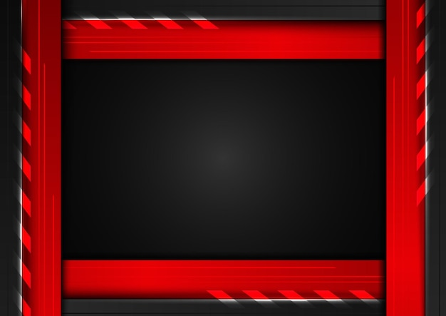 Abstract technology concept geometric black and red frame with lighting on dark background.