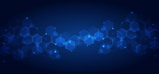 抽象的なテクノロジーが青い幾何学的な六角形パターンを接続します