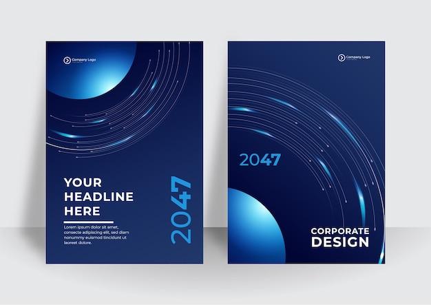 회로 기판이 있는 추상 기술 커버. 하이테크 브로셔 디자인 컨셉입니다. 미래 비즈니스 레이아웃의 집합입니다. 진한 파란색 현대 기술 배경