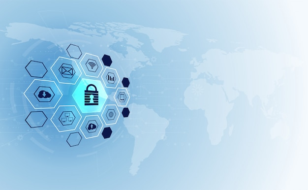 Abstract technology cyber security privacy icon information network