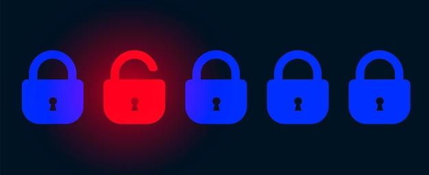 자물쇠와 추상 기술 어두운 배경입니다. 사이버 공격 및 데이터 침해 개념 그림