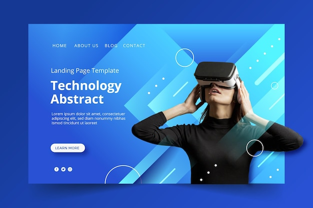 Abstract technology design template of landing page