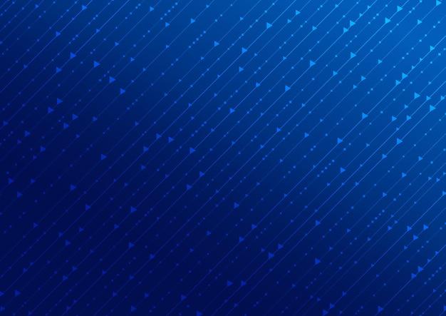 青い背景に線で抽象的な技術のデジタル概念の正方形と矢印のパターン。