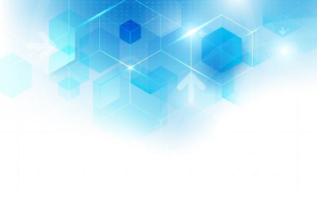 추상적 인 기술 디지털 하이테크 육각형 개념