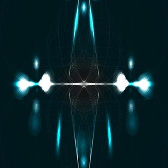 抽象的な技術図面、光沢のある空間の背景、魔法の図