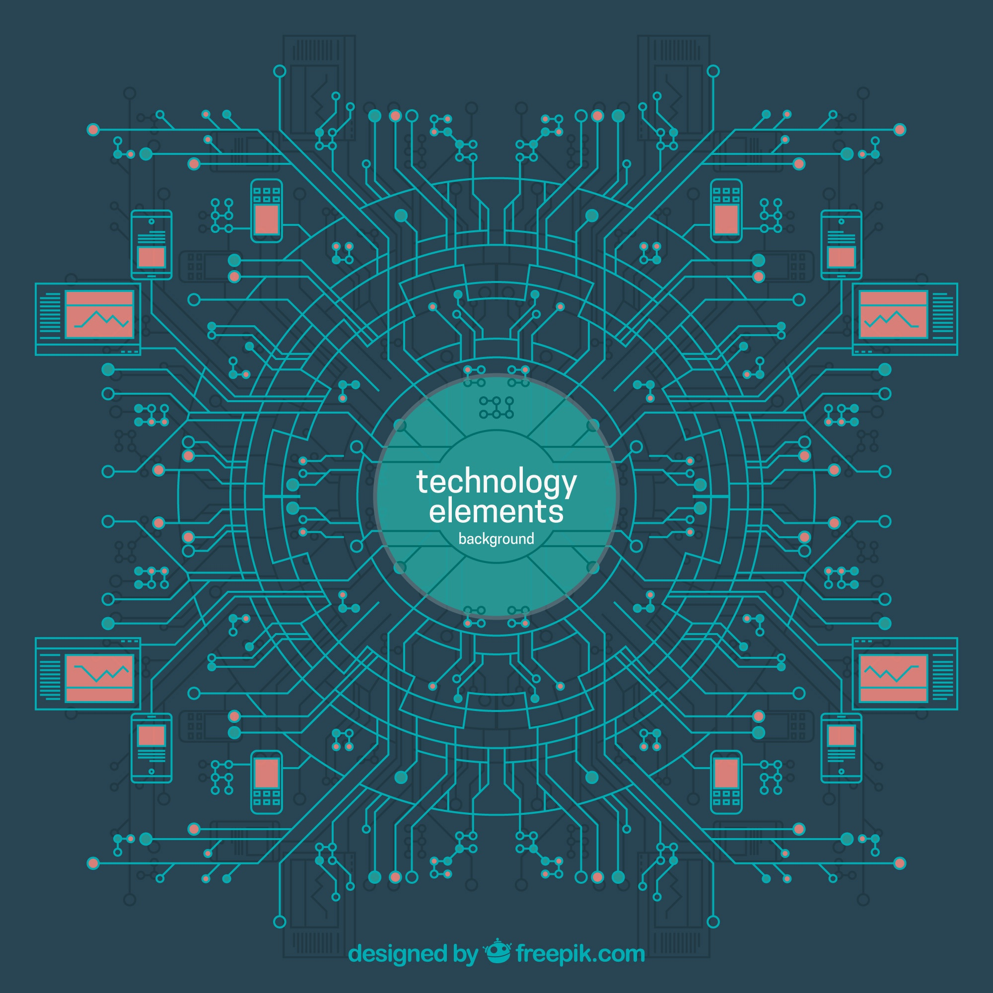 Abstract technology elements background