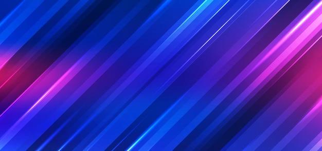 抽象技術の未来的な背景ネオンライトは、光沢のある縞模様の線の青とピンクのグラデーションカラーに影響を与えます。ベクトルイラスト